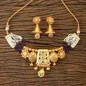 Brass Gold Plated Antique Choker Necklace 203296, Size: Regular Size And Adjustable