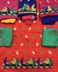Unstitched Cotton Embroidery Salwar Suits