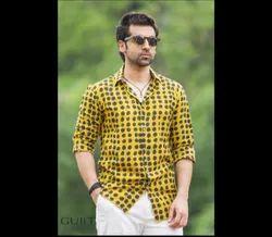 Guilt Store Casual Wear Mens Printed Collar Neck Shirt, Size: S-xxl, Handwash