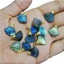 Blue Flash Labradorite Fan Shape Charm Pendants