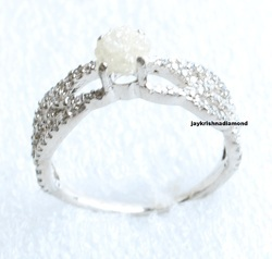 Jaykrishnadiamond Beautiful White Rough Diamond Silver Ring