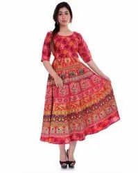 Round Neck Rajasthani Printed Cotton Frock
