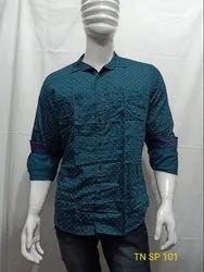 Satin Blue Mens Polka Dot Printed Shirt