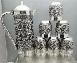 Antique Straight Silver nakkashi Jug Sets