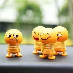 Smiley Spring Doll, Cute Emoji Bobble Head Dolls Car Ornaments Bounce Toys