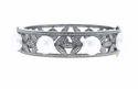 Moonstone Gemstone Silver Bangle