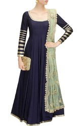 Silk Party Wear Embroidered Full Sleeve Kurta