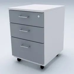 Grey Metal Pedestal 3 Drawer
