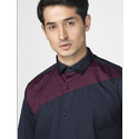Green Hill Men''s Designer Navy Blue Triangle Shirt