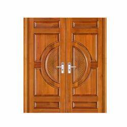 Rectangular Brown Teak Wood Carving Door
