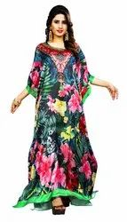 Indian Floral Printed Casual Wear Free Size Long Kaftan For Women