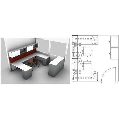 Office Workstation 2d Layout Interior Designing Service In