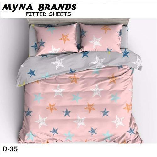 Charming Myna Cotton Queen Size Fitted Bed Sheet