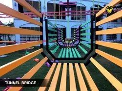 Fun Tunnel Bridge Setup for Kids Material: Iron, Steel & Wood (Rope Course Element)