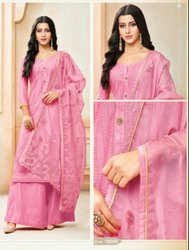 Designer Silk With Embroidery Palazzo Suit