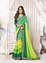 Georgette Green & Yellow Embroidered Surat Saree
