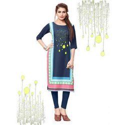Ethnic Straight 3/4 Sleeve Crepe Kurti