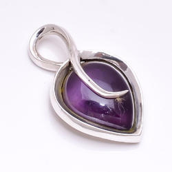 Purple Amethyst Stone 925 Sterling Silver Pendant