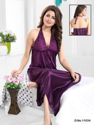 Full Length Sleevless KuuKee 11034 Silky Long Slip Night Wear, Size: Large