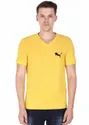 V Neck T-Shirt For Men, 100% Pure Cotton, Yellow