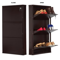 Parasnath Coffee Color Shoe Den with 3 Shelves Shoes Stand