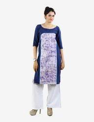 Free Size Indigo Batik Printed Panel Kurti