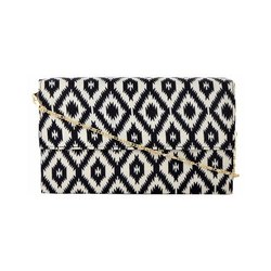 Azzra White Printed Fabric Wooden Clutch