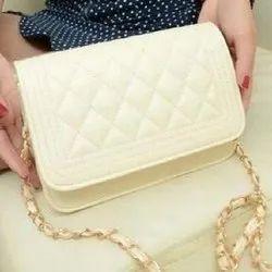 Cream PU Women Sling Purse, Packaging Type: Packet