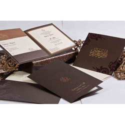 Brown Square Wedding Cards