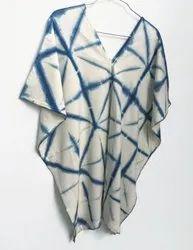 Blue & White Cotton Tie & Dye Kaftan, Age Group: 15-75