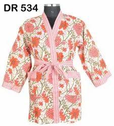 Cotton Hand Block Print Women's Kimono Robe Dress DR534