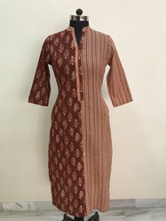 Cotton Print Jaipuri Buta with Geometrical Print Kurti