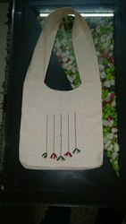Grey Fancy Embroidered Tote Bag