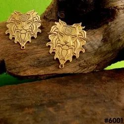 Gold Plated Lion Face Charm Stud Earring
