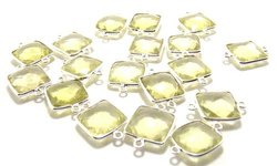 Lemon Quartz Gemstone Bezel Connector