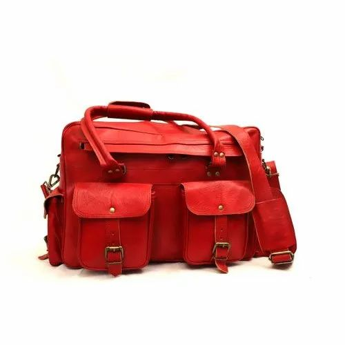HUE Men Red Leather Office Bag