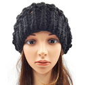 Netted Slouchy Beanie Black
