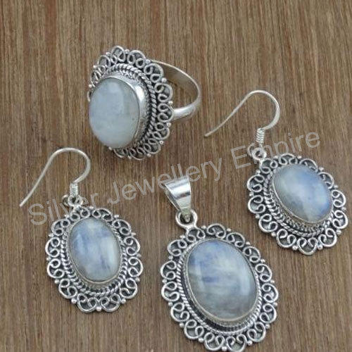 Silver Jewelry Doctor White 925 Sterling Silver Rainbow Moonstone Jewelry  Sets 73e0cc0d3