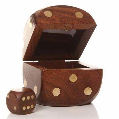 Brown Wooden Game Dies Box Rs 130 Set Indian Wood Handicrafts