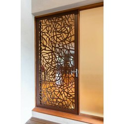 Wood Brown CNC Router Cutting Door, For Window, Thickness: 19mm
