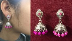 Studs Dangle German Silver With Cracked Pattern Glass Beads in Mogra
