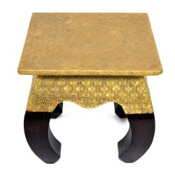 Wooden Handmade Brass Pooja Stool Decorative Stool 4 Curved Leg Stool Designer Stool Decorative Item