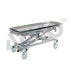 Blue Stainless Steel Mortuary Trolley Height Adjustable, Size: 2400 X 685 mm