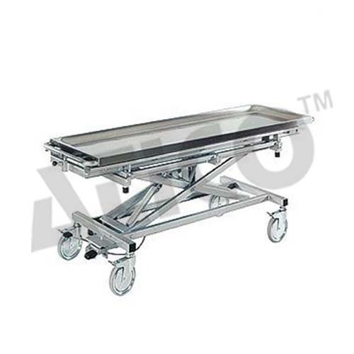 Blue Stainless Steel Mortuary Trolley Height Adjustable