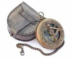 Brass Antique Finish Compass with Leather Case