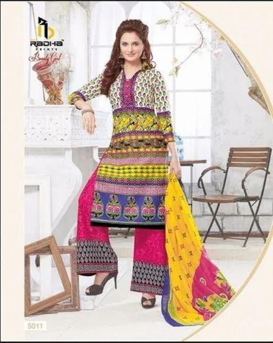 5f572467b4 Printed Multi Color Shree Radha Prints Unstitched Cotton Dress Materials BG8