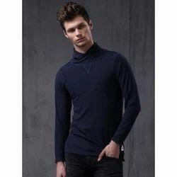 Men's Cotton Turtle Neck Plain T-Shirt, Size: S - XL