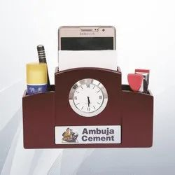 Wooden Table Top With Pen Holder for Office
