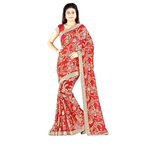 c27ca50933 Red And Golden Wedding Wear Embroidered Designer Saree, Rs 1300 ...