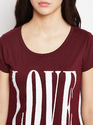 Ladies Round Neck Maroon Printed T-Shirt